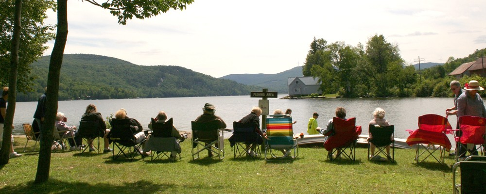 Group of seniors enjoying Crystal Lake in Barton Vermont